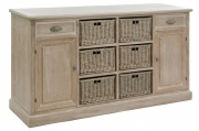 BUFFET WOOD BASKET GREY